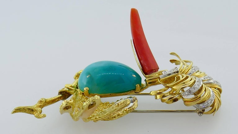 Tiffany & Co. Yellow Gold Heron Brooch Pin Clip with Coral Amazonite Diamond In Good Condition For Sale In Beverly Hills, CA