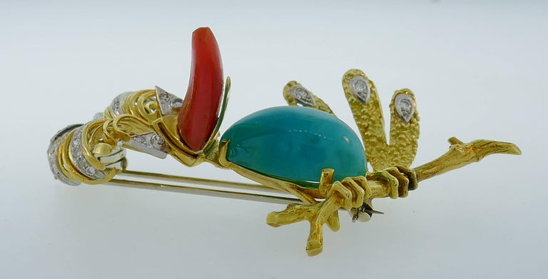 Women's or Men's Tiffany & Co. Yellow Gold Heron Brooch Pin Clip with Coral Amazonite Diamond For Sale