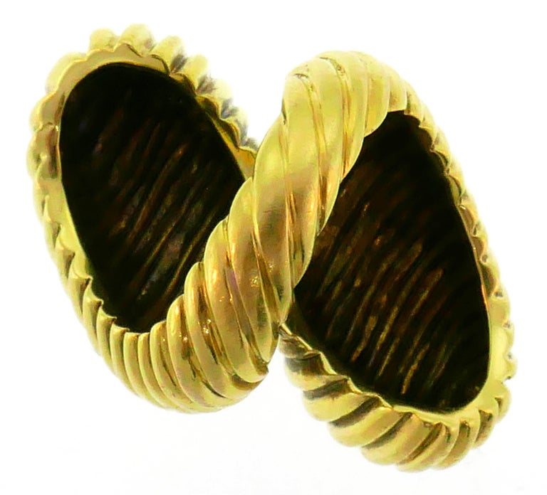 David Webb Yellow Gold Snake Ring For Sale 4