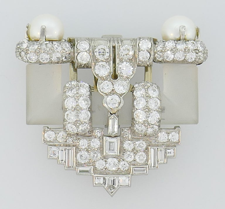 Diamond Platinum Clip Brooch Pin Rock Crystal Pearl, Art Deco, 1930s In Good Condition For Sale In Beverly Hills, CA