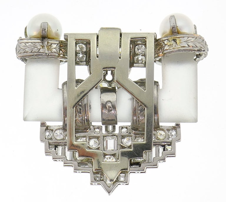 Diamond Platinum Clip Brooch Pin Rock Crystal Pearl, Art Deco, 1930s For Sale 1