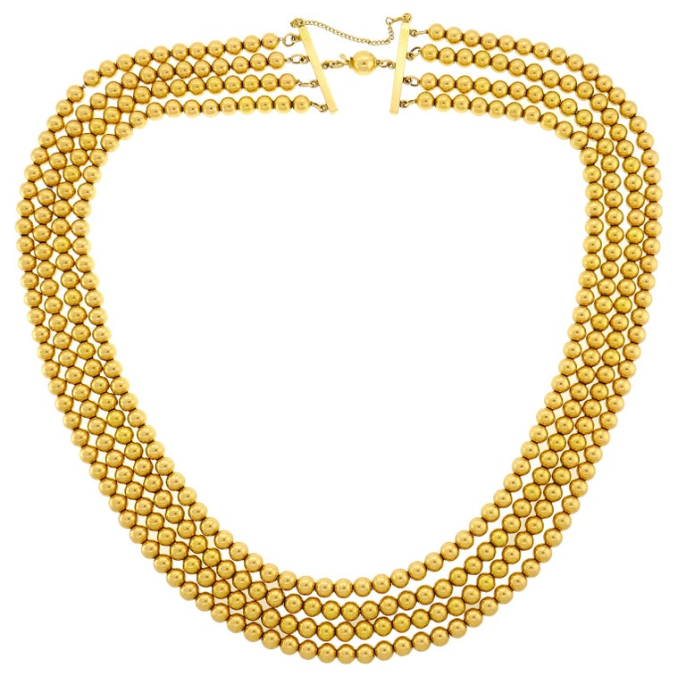 Multi-Strand Yellow Gold Bead Necklace, 1960s