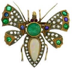 Victorian Gold Butterfly Pin Brooch Clip Diamond Opal Sapphire Emerald Ruby