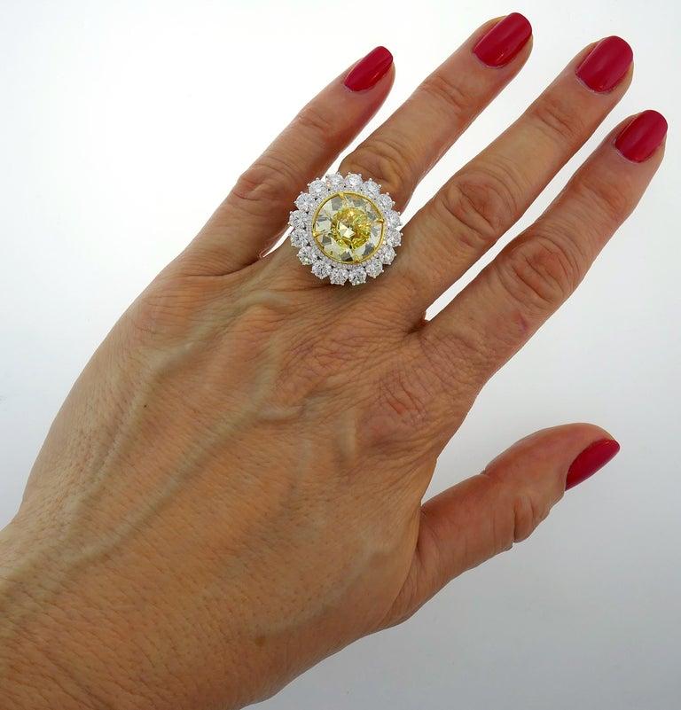 Fancy Intense Yellow Diamond White Gold Ring 10.04 Carat VS2 GIA For Sale 4