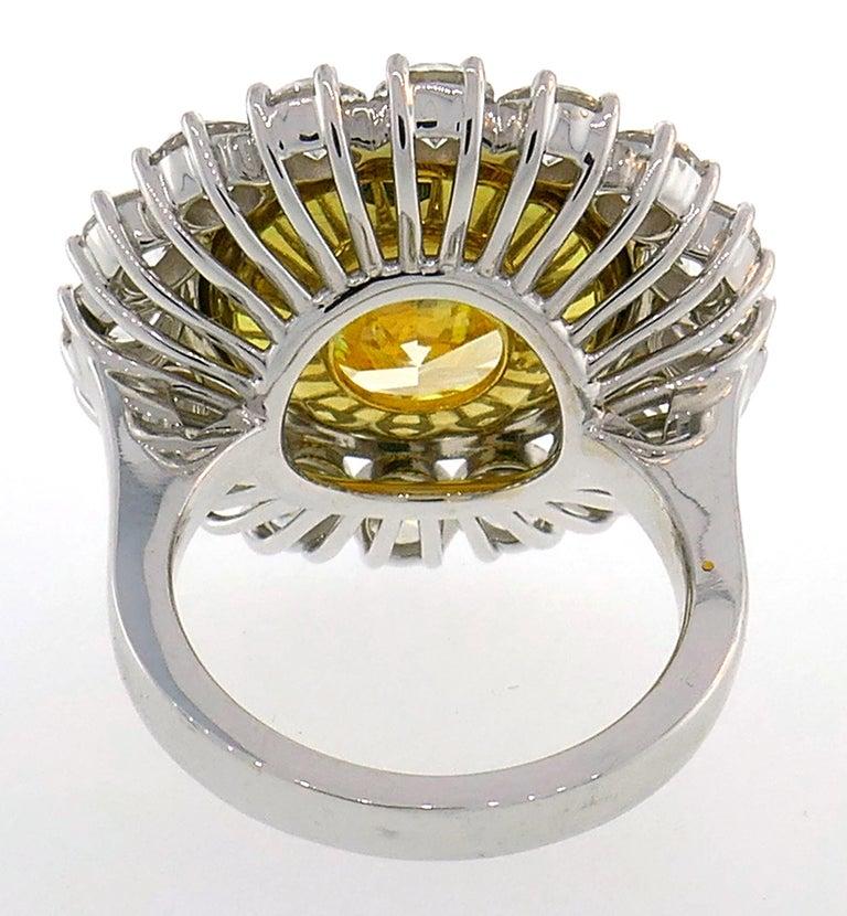 Fancy Intense Yellow Diamond White Gold Ring 10.04 Carat VS2 GIA For Sale 1