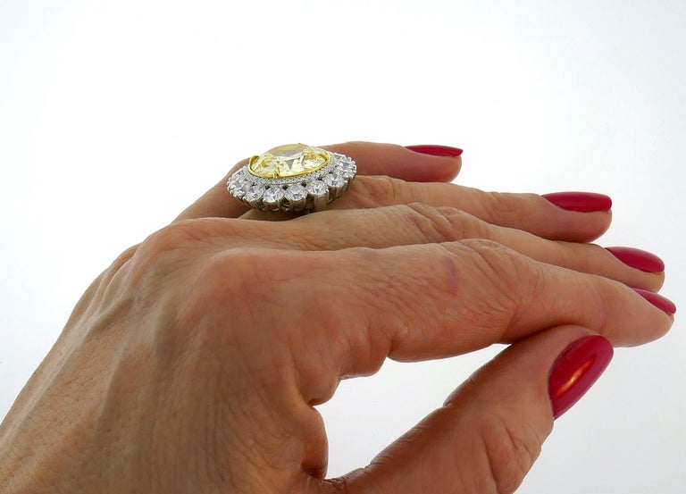 Fancy Intense Yellow Diamond White Gold Ring 10.04 Carat VS2 GIA For Sale 5