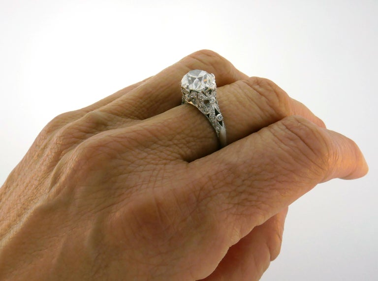 3.02 Carat GIA Cushion Cut Diamond Platinum Ring circa 1920s Art Deco Engagement In Good Condition For Sale In Beverly Hills, CA