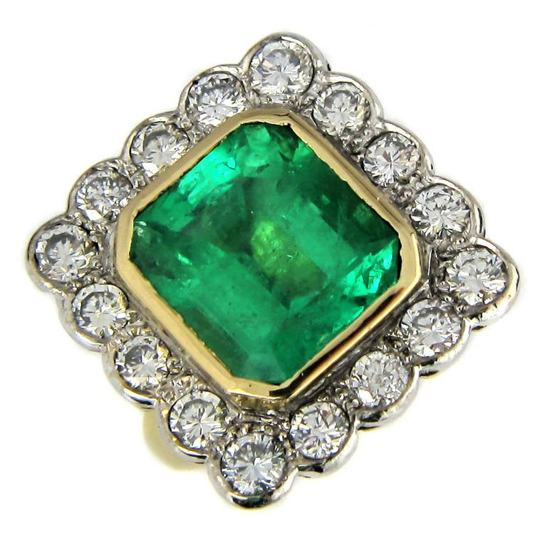 large emerald gold cluster ring at 1stdibs