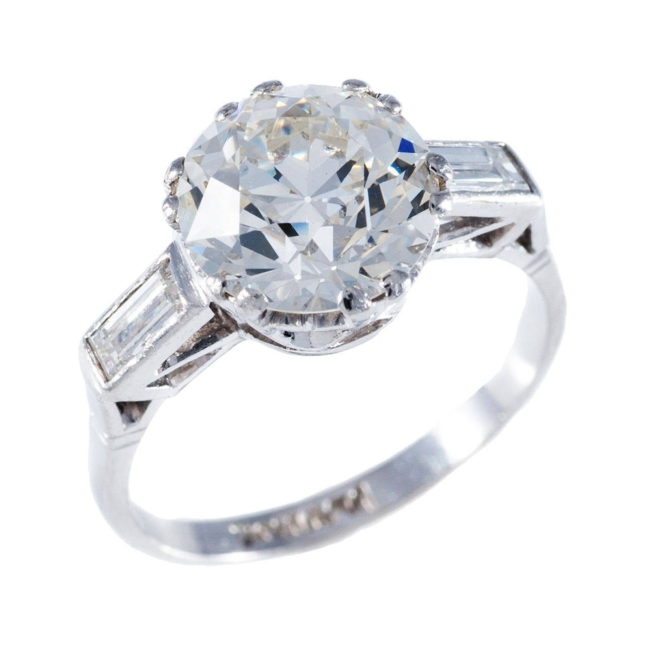 3 34 Carat Edwardian Diamond Platinum Solitaire Ring At