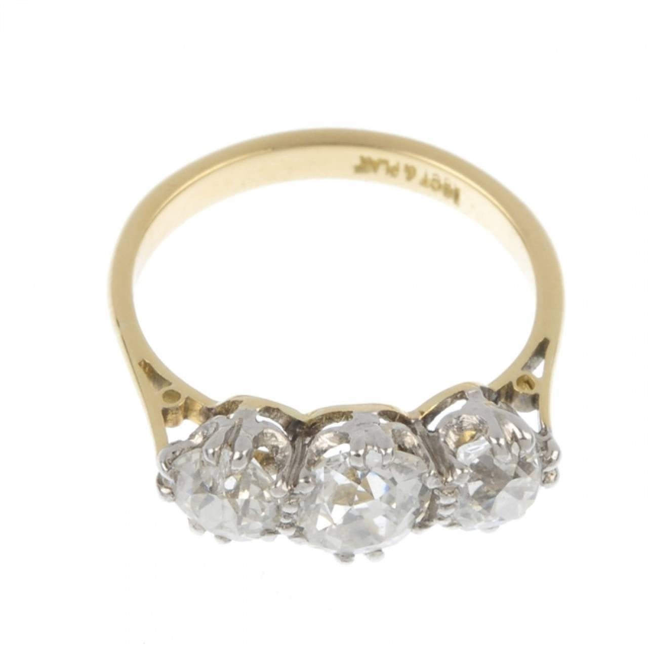 1 75 Carats Three Stone Diamond Gold Engagement Ring at 1stdibs
