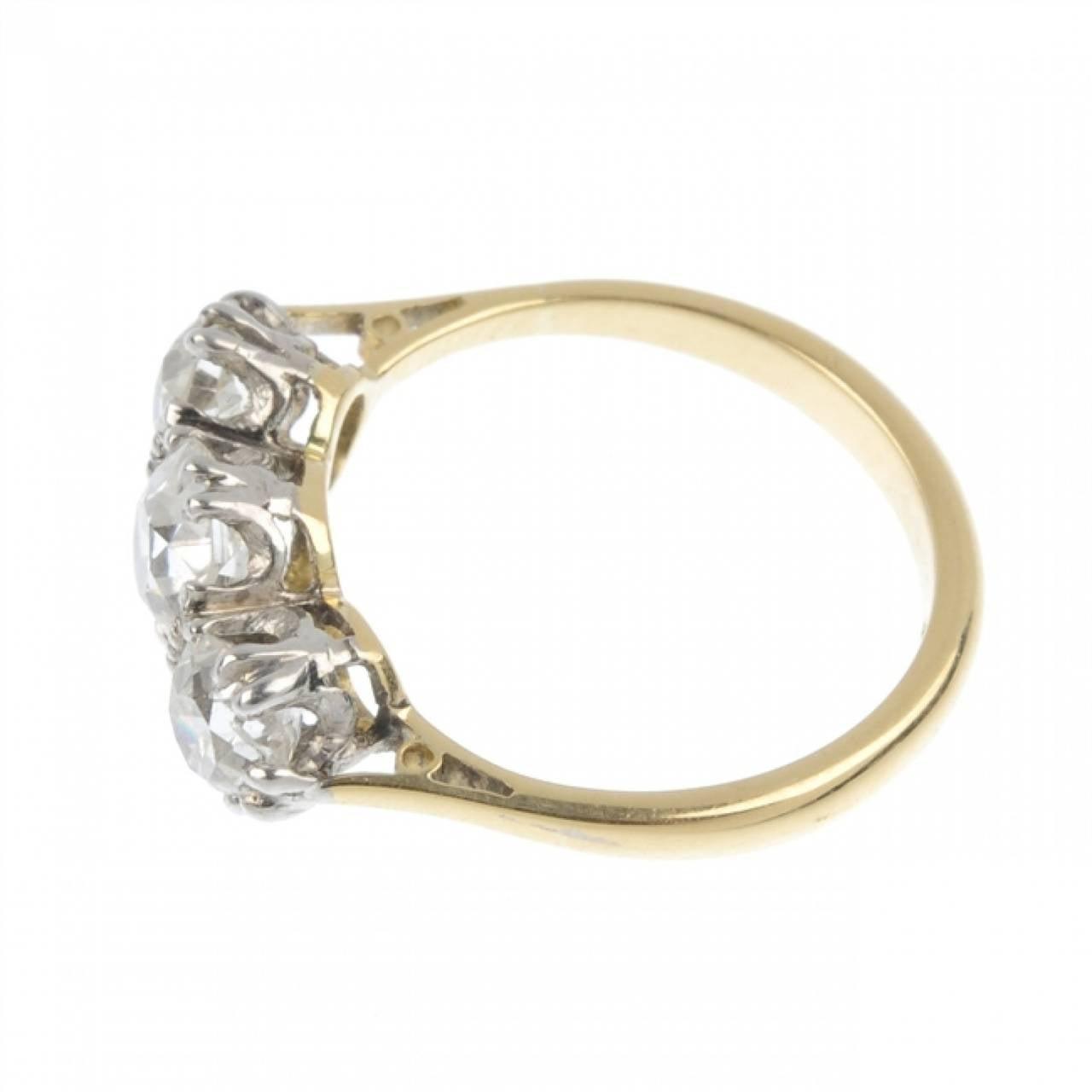 1 75 Carats Three Stone Diamond Gold Engagement Ring at 1stdibs