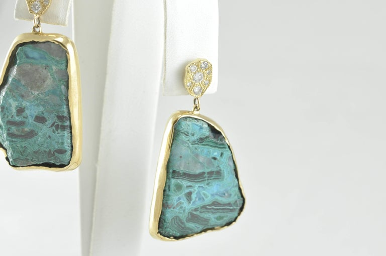 Artisan Gold Diamond and Chrysocolla Earrings For Sale