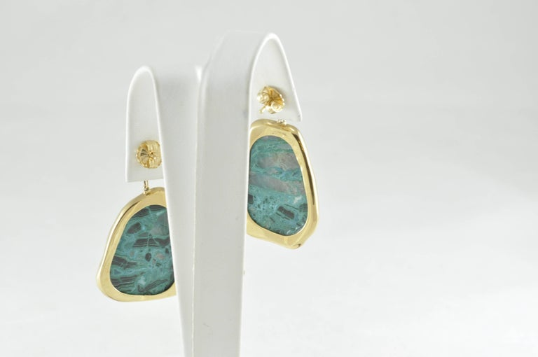 Gold Diamond and Chrysocolla Earrings In As new Condition For Sale In Dallas, TX