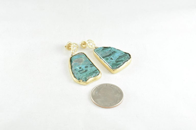 Women's Gold Diamond and Chrysocolla Earrings For Sale