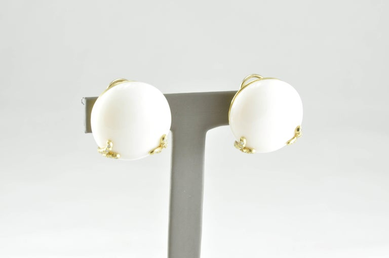 Exquisite Henry Dunay White Coral Earrings in 18k Yellow Gold featuring 0.36ct round Diamonds. These shining examples of Dunay's quality and craftsmanship are also fabulous investment pieces, as his notoriety continues to grow within the