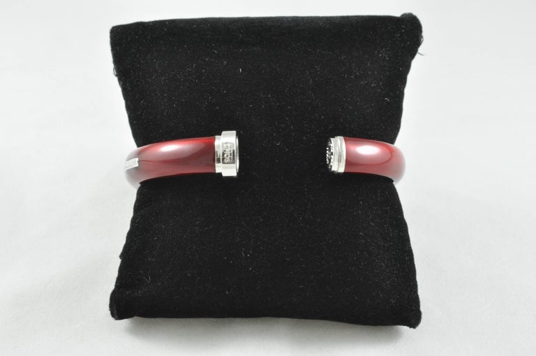 SOHO Diamond Red Enamel and Sterling Silver Bangle Bracelet In New Condition In Dallas, TX