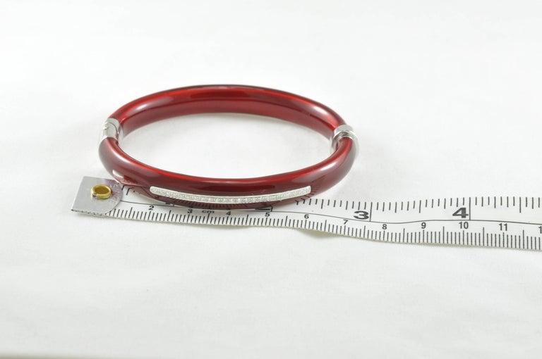 Women's SOHO Diamond Red Enamel and Sterling Silver Bangle Bracelet