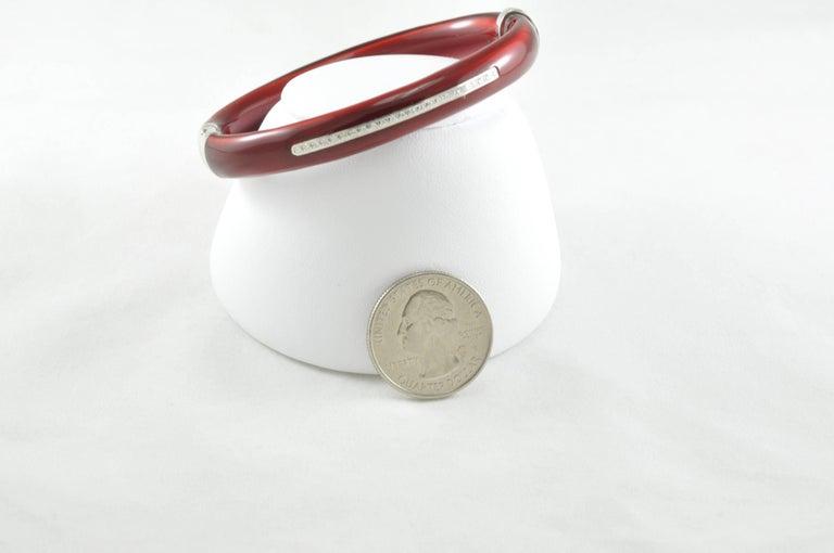 SOHO Diamond Red Enamel and Sterling Silver Bangle Bracelet 2