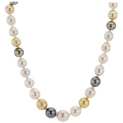 Multicolored South Sea Semi Baroque Pearls with White Gold Clasp