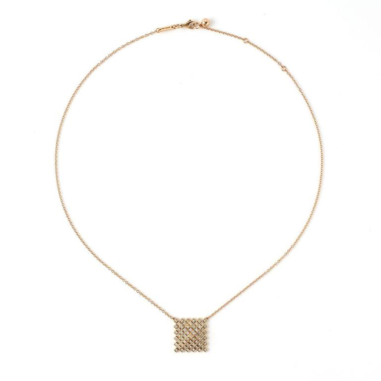 Francesca Grima Rose Gold and Diamond Pyramid Pixel Necklace 2