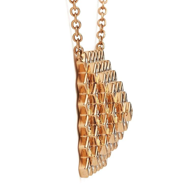 Francesca Grima Rose Gold and Diamond Pyramid Pixel Necklace 3