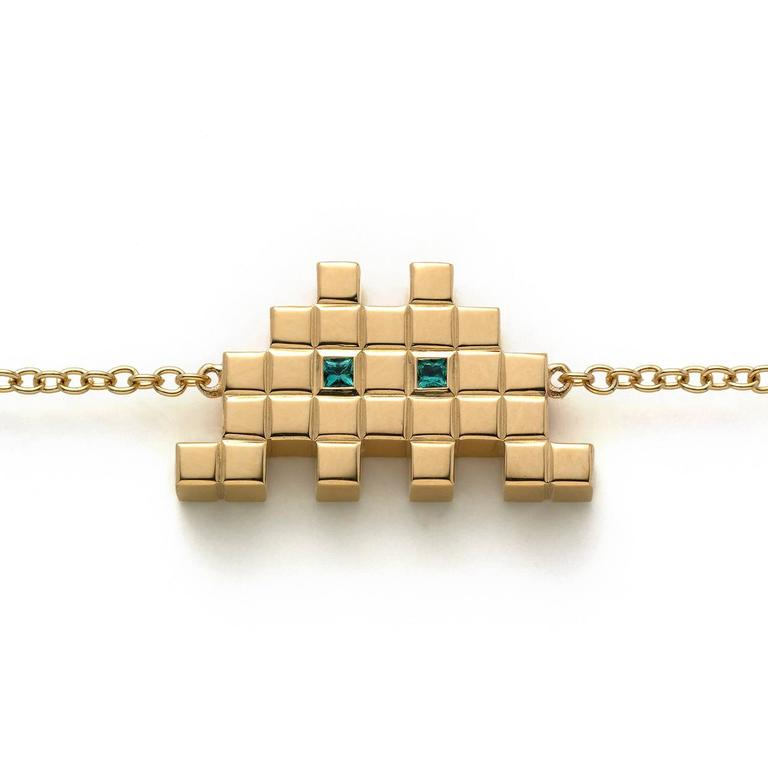 Francesca Grima Yellow Gold and Emerald Invader I Bracelet 2