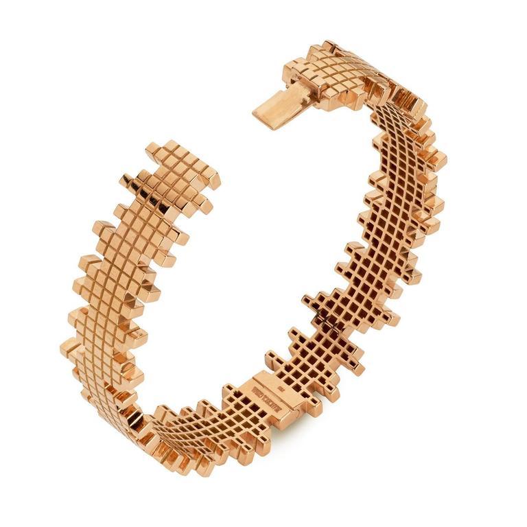 Francesca Grima Rose Gold Pixel Bangle Bracelet 2