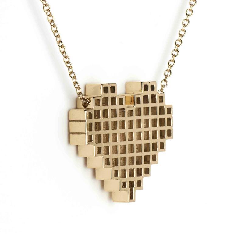 Francesca Grima Diamond Yellow Gold Pixel Heart Necklace 2