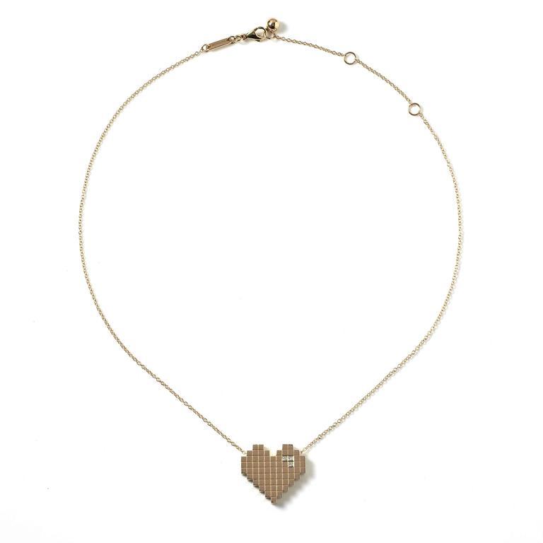 Francesca Grima Diamond Yellow Gold Pixel Heart Necklace 3