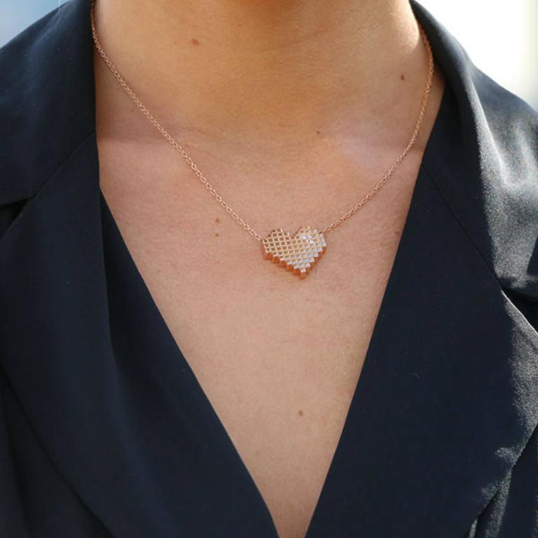 Francesca Grima Diamond Yellow Gold Pixel Heart Necklace 4