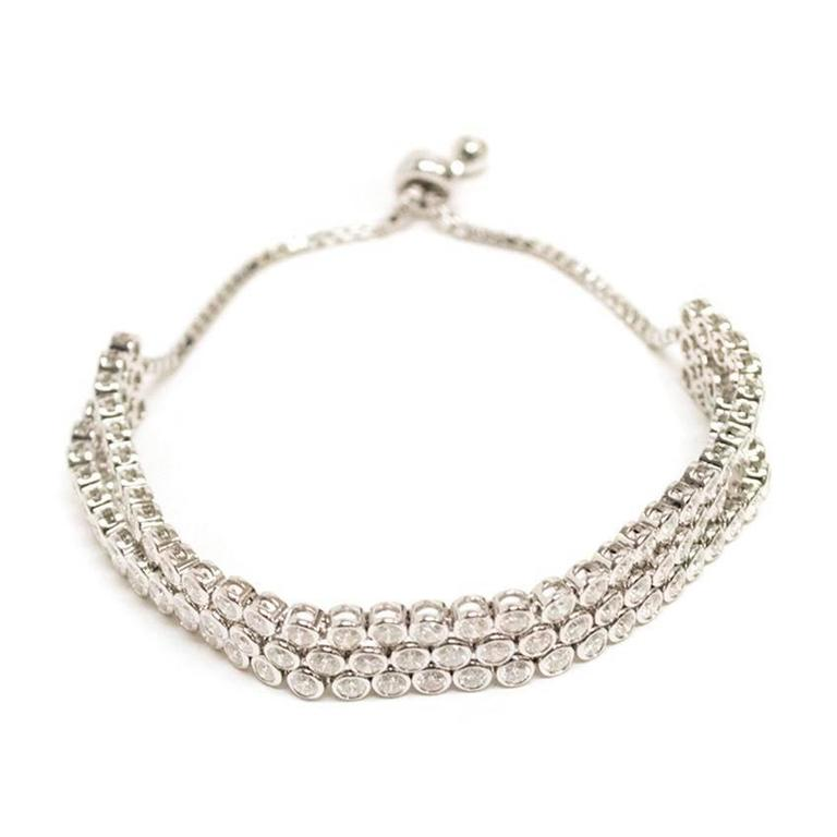 Bespoke White Gold Triple Row Diamond Tennis Bracelet For