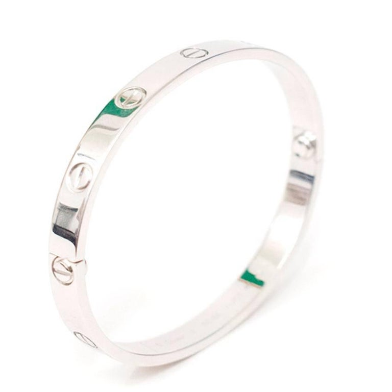 Cartier 18 Karat White Gold Love Bracelet 6