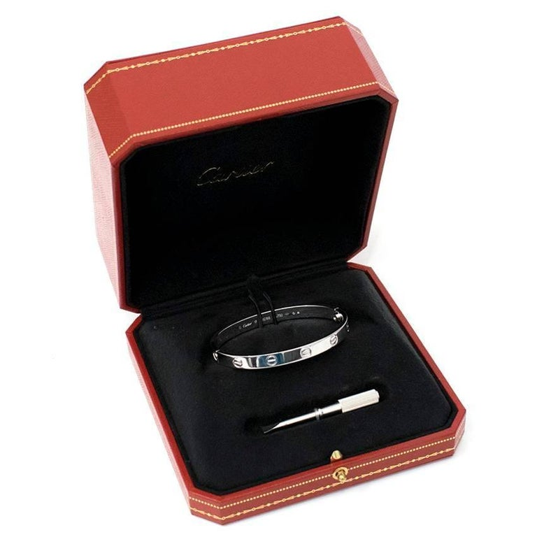 Cartier 18 Karat White Gold Love Bracelet 10