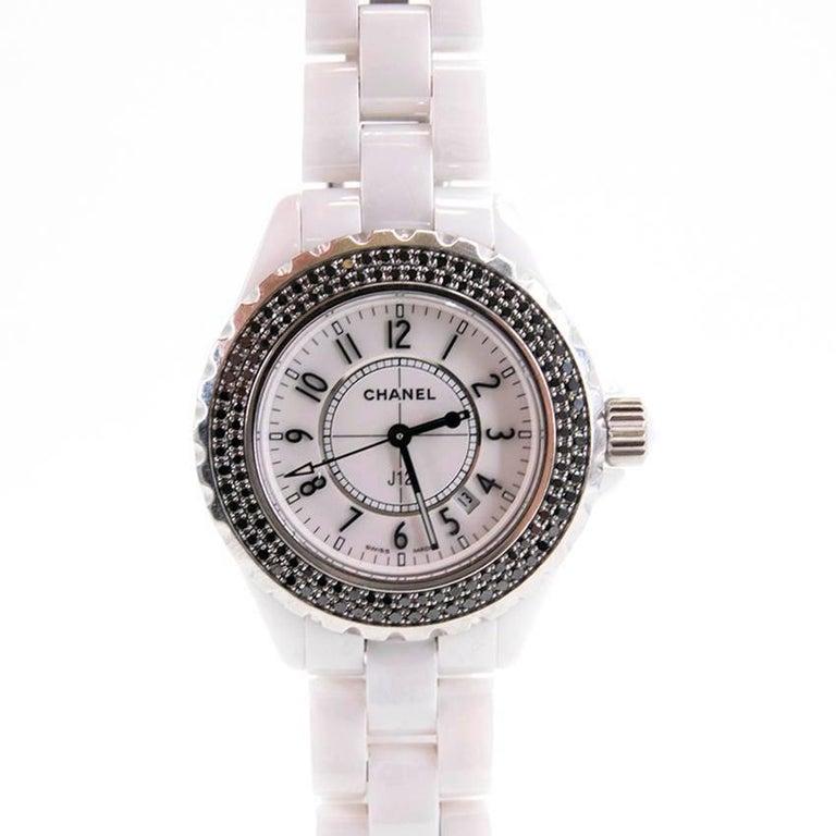 Chanel Ladies J12 Stainless Steel Ceramic Black Diamond Wristwatch