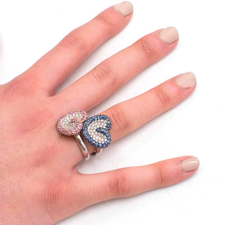 Bespoke Pink and Blue Pave Set Diamond 18 Karat White Gold Ring Set ...
