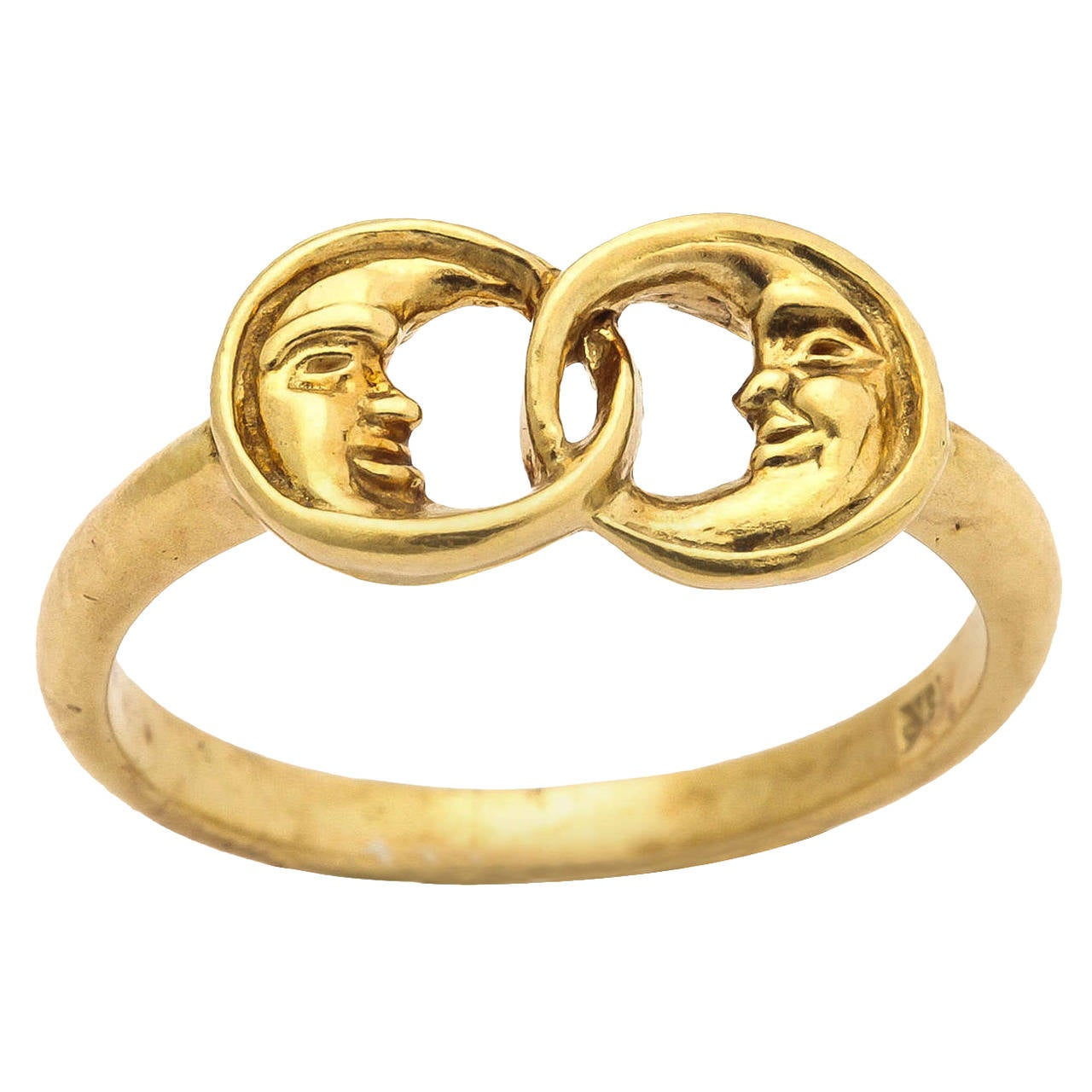 Gold Two Man-in-the-Moon Ring 1