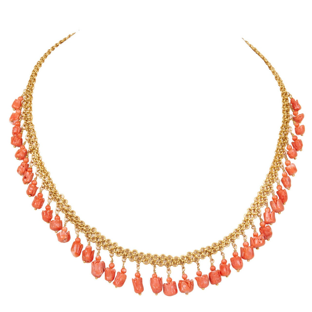Natural Coral Tulip and Gold Necklace