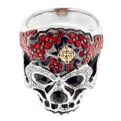 Awesome Red Sapphire Skull Ring