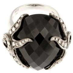 Spectacular Black Spinel Diamond Palladium Ring
