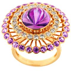 Striking Amethyst and Pink Sapphire Diamond Ring