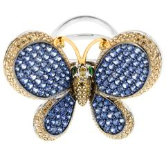 Dazzling Sapphire and Diamond Butterfly Ring