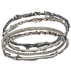 Set of Artistic Silver and Diamond Bangle Bracelets