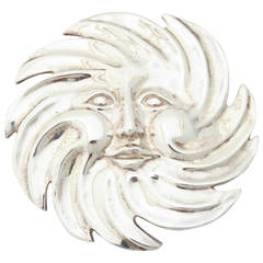 Giant Sterling Silver Sun Belt Buckle