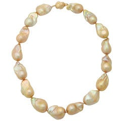 Large Golden Baroque Pearl Necklace