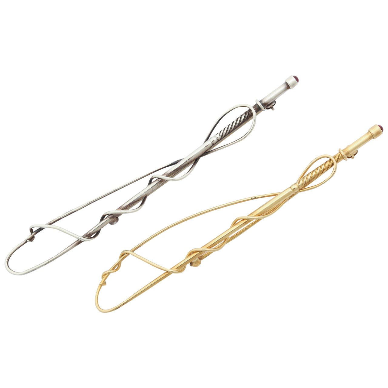 Gold and Silver Horse Driving Whip Brooches