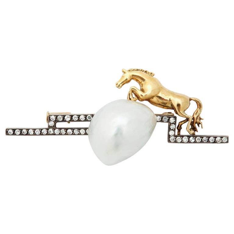 Gold and Diamond Horse Leaping over Pearl Brooch