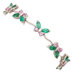 Charming Pink Sapphire Emerald Gold Butterfly Link Bracelet