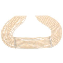 Pearl Diamond Gold Choker Necklace