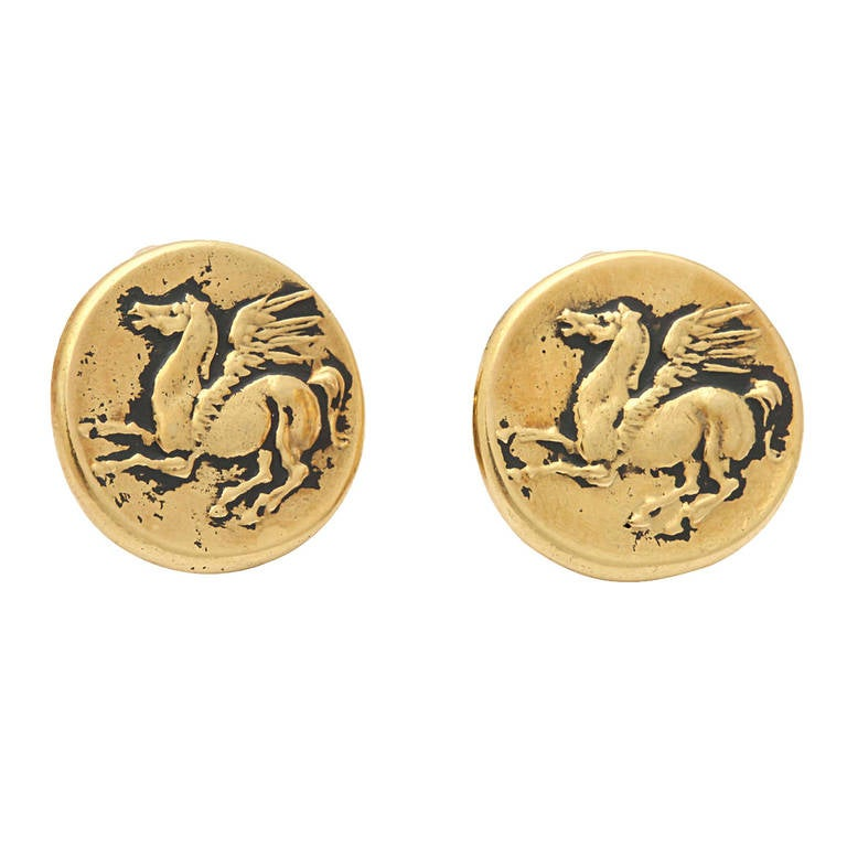 Gold Pegasus Coin Clip Earrings