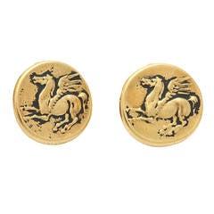 Gold Pegasus Coin Clip Earrings